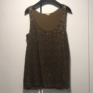 Olive green sequin tank by J Crew - size S